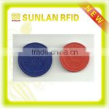 13.56mhz passive programmable embossed plastic rfid token coin with S50 for metro(professional maunfacuturer)