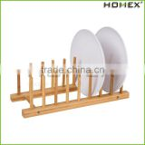 Multi-Function Bamboo Plate Holder Stand Dish Drying Rack for Plate, Cup, Books,Bowls/Homex_Factory