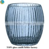Factory ball shape crystal glass candle holder