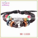 Alloy fish shaped winding leather bracelet,handmade leather bracelet with colorful wood bead
