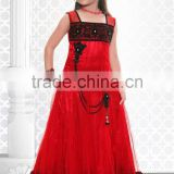 Red color Anarkali long with black lace neck design and border Sizzling Girls Ready Made