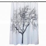 Wholesale Price 180180cm Waterproof Black Scenery Tree Design White Fabric Bathroom Shower Curtain Liner Hooks Polyester