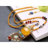 Neffly jewelry natural beeswax yellow chanterelles 4 mm with S925 silver necklace inlaid yellow chalcedony bluing accessories with blood amber beads, lapis lazuli, Nam Hung,