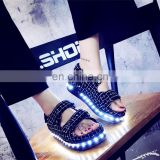 New design 7colors light shoes Comfort Low Platform Womens Summer Plaid USB Charge Led Luminous sandals Ladies LED shoes