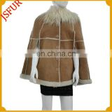 New fashion brown lamb fur double face winter ponchos for women