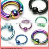 Hot wholesale different size titanium coated lip ring curved barbell eyebrow ring ear piercing jewelry