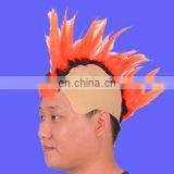 Hot sell funny orange mohawk Wig with Skullcap