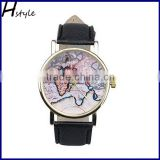 2016 New Retro World Map Printed PU Leather Band Alloy Case Analog Quartz Ladies Wrist Watch Black WP011