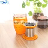 Glass Mug With Silicone Sleeve and Stainless Steel Tea Strainer Glass Tea Mug With Infuser