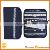popular design Jean fabric jewelry travel organizer,cloth 40 zipper pockets jewelry organizer,travel personal jewelry organizer                                                                         Quality Choice