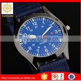 Mens Sport Blue Nylon Fabric Lume Dial Army Analog Quartz Wrist Watch                                                                         Quality Choice
