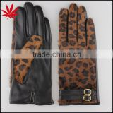 Fashion horse fur leather gloves with belt decorate