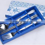 Unique Tableware Stainless Steel Spoon and fork and Chopstick set with Blue Wedding Table Gifts