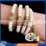 Tibetan Buddhism 108 White jade bodhi seed prayer bead mala necklace 6*8mm