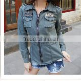 DJ 213168 wild style skinny shape wholesale woman denim jean jacket for women in 2014