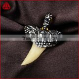 Real shark tooth drop pendant, shark tooth charm with rhinestone pave beads
