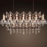 Vintage Home Interior Decor Antique Luxury Crystal Chandelier Wrought Iron Pendant Hanging Lamps Lights Lighting CZ2553/18
