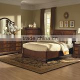 Queen Bed w/ Sleigh Headboard antique bedroom set / amercian style solid wood bedroom AS-B3