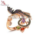 Rose Gold Plated and white gold plated Big Size Women Multi Black CZ AAA Prong Setting Phenix Animal Bird ring