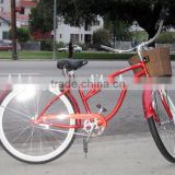 beach red bike for hot sale with front basket SH-BB053