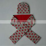 cute heart print pattern hat scarf knitted set