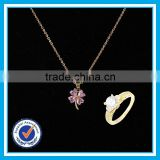 18K gold ring necklace set latest design imitation gold plated jewellery sets