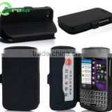 High quality book style wallet flip leather smart phone case for Blackberry Q10