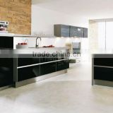 Modern lacquer kitchen cabinet black gloss color