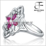 Top quality Bright 925 sterling silver shiny red and clear cubic zirconia CZ crystal women's ring Jewelry