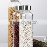 350/400/550ml lead free eco-friendly glass water bottles,glass jars/container with stainless steel lid                                                                         Quality Choice
