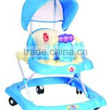 plastic light rocking/rolling folding cheap baby walker stroller/car with big canopy sunshade