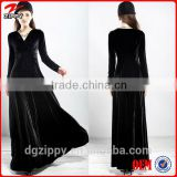 Long sleeve velvet evening dress black velvet evening dress for women velvet evening dress 2014