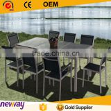 2015 table 8mm tempered glass top 8 person dining chair outdoor garden furniture
