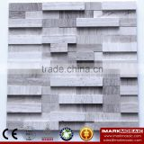 IMARK 3D Interior Design Gray Wood Grain Mix White Wood Grain Marble Stone Backsplash Tile