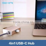 Premium 4 in 1 USB 3.0 Sharing USB C Combo Hub For New MacBook 12 Inch Chrome Book Pixel With Internet Lan Port