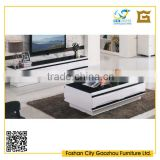hot sale fashionable living room furniture, high gloss wooden center table and tv stand in black and white color