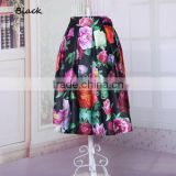 New Fashion European Style Women's Elastic Waist Flower Printed Midi Skirt