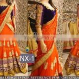 Glided Orange Georgette Designer Lehenga Saree/Shop Latest Lehenga Style Sarees
