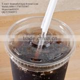 Custom Disposable Clear Plastic Cold Drink Cup Lid with Straw Slot for 16,20 and 24oz Cup