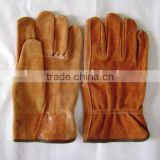 Brown cow split leather driver glove