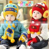 TC13003 Cheap cute fashion baby pom pom winter beanie and scarf and knitted animal mitten set wholesale baby 3pcs set