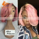New Style Pink Wig Part Anywhere Ombre Lace Front Wig Two Tone Color 1BTPink Peruvian Hair Lace Front Wig With Bangs For Women