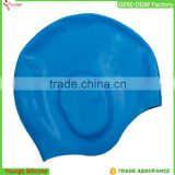 Custom logo silicone swim cap,professional silicone ear swim cap,ear protection swim cap                                                                                                         Supplier's Choice