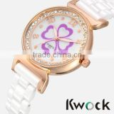 Rose Gold Stainless Steel White Ceramic Womens Watch