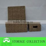 set of 3 wholesale rectangular seagrass handwoven hamper box