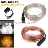 holiday decoration 10m DC12V brightness warm white micro LED copper silver cord wire string lights