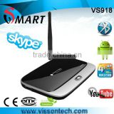 wireless internet tv box with remote controller high performance android 4.2 quad core tv box