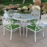 Outdoor Patio White Round Dining Table and Chairs Set Garden Furniture Cast Aluminium