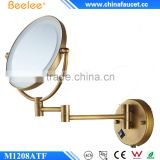Beelee M1208ATF Wall Mounted Antique Brass Led Lighted Magnifier Bathroom Cosmetic Mirror                                                                         Quality Choice