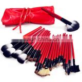 22pcs professional natural goat hair oem makeup brush set/cosmetic brushes kit/private label free sample with red cosmetic pouch